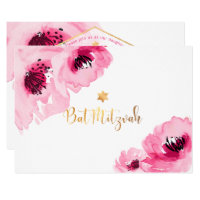 PixDezines Floral Watercolor/Roses/Bat Mitzvah Card