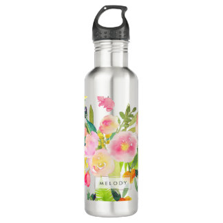 PixDezines Floral Watercolor/Spring Bouquet Stainless Steel Water Bottle