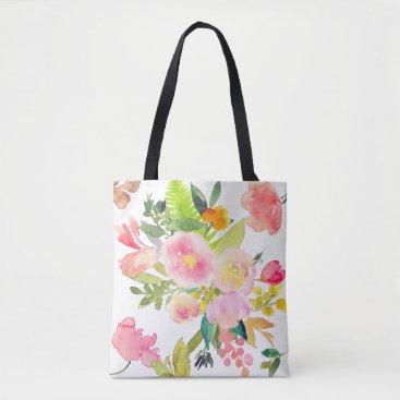 pixdezines PixDezines Floral/Watercolor/Spring Bouquet Tote Bag