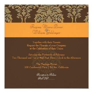 PixDezines Florentius Damask/orange/dark chocolate Card