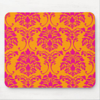 PixDezines Florentius Damask/orange+hot pink Mouse Pad