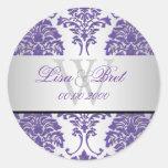 PixDezines florentius damask/purple+silver Round Stickers