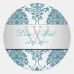 PixDezines florentius damask/teal+silver Classic Round Sticker