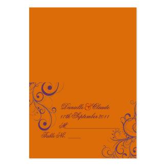 PixDezines Flourish Swirls tent place cards Orange Business Card