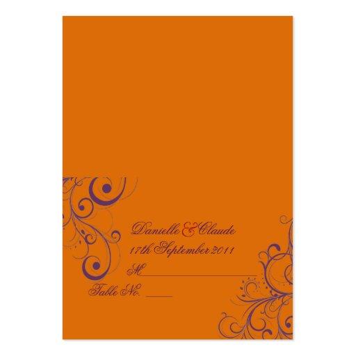 Pixdezines flourish swirls tent place cards orange large for Tent business cards