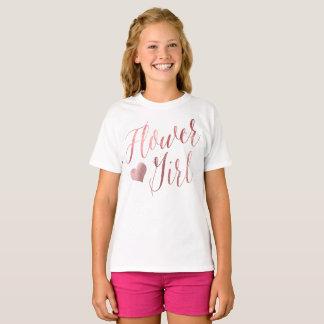 PixDezines Flower Girl/Faux Rose Gold ModernScript T-Shirt