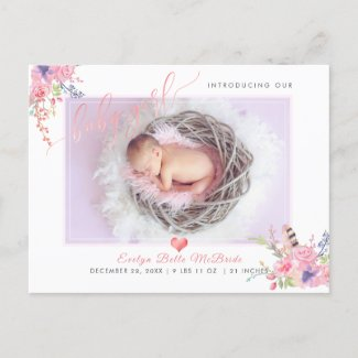 PixDezines Flowers+Baby Girl, Faux Foil Script Announcement Postcard