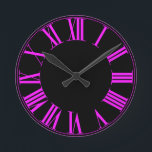 "PixDezines Fluorescent Pink Roman Numeros Round Clock<br><div class=""desc"">PixDezines,  roman numerals on DIY background color. com™ and PixDezines™ on zazzle.com.  All rights reserved.</div>"