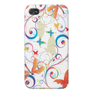 PixDezines Fluttering By2 /Butterflies+Dragonflie iPhone 4 Cover