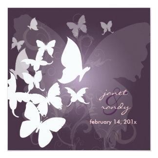 PixDezines Fluttering by... butterflies white/plum Card