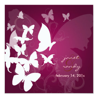 PixDezines Fluttering by... butterflies white/plum 5.25x5.25 Square Paper Invitation Card