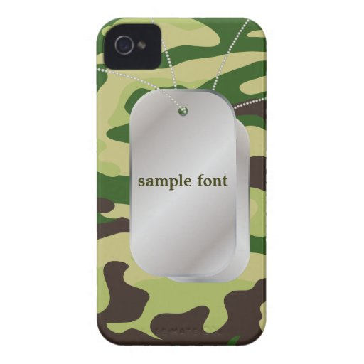 PixDezines Forest Green Camo+Dog+Tags iPhone 4 Covers