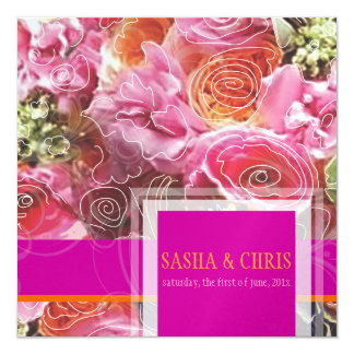 PixDezines Funky Floral/Sorbet/DIY accent colors! Custom Announcements
