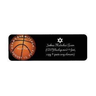 ✡ PixDezines Game On! Basketball Bar Mitzvah Label