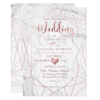 PixDezines Gemstone+Marble/Faux Rose Gold/Wedding Card