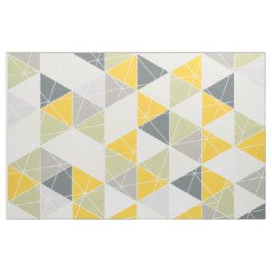 Pixdezines Geometric Yellow Grey Fabric
