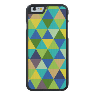 PixDezines geométrico/verde/azul/trullo Funda De iPhone 6 Carved® Slim De Arce