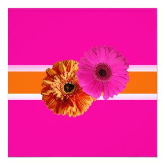 PixDezines Gerber, orage+passion pink/diy colors 5.25x5.25 Square Paper Invitation Card