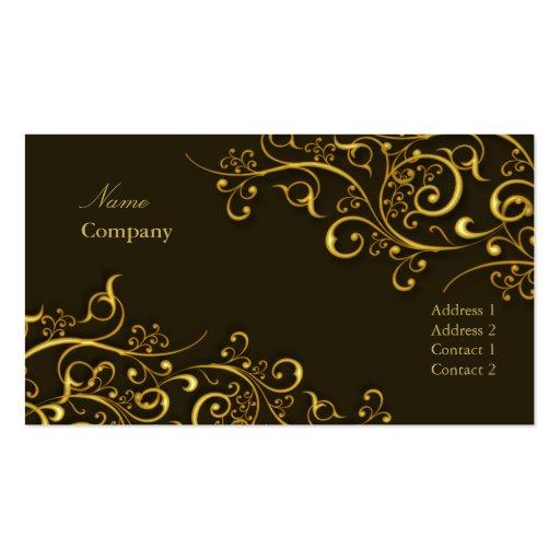PixDezines Gilded iron swirls/dark chocolate/gold Business Cards