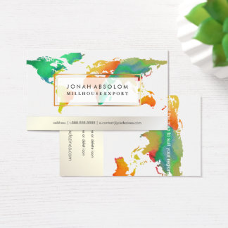 PixDezines going global/watercolor word map Business Card