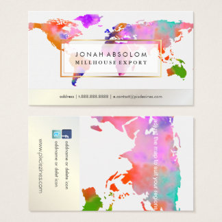 PixDezines going global/watercolor world map Business Card