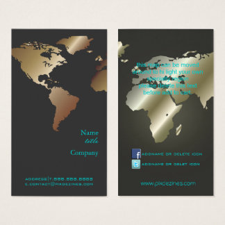 PixDezines Going Global/World Map/Faux Metallic Business Card