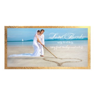 PixDezines gold frame/thank you wedding photo Card