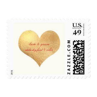 PixDezines Gold Heart/Save Date/DIY backgrnd color Postage