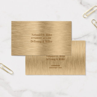 PixDezines gold tone brushed steel/DIY fonts+color Business Card