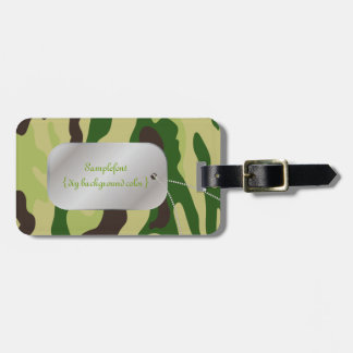 PixDezines green camo+dogtag Luggage Tags