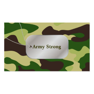 PixDezines Green Camouflage+Dog Tags Business Card Template