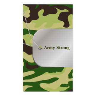 PixDezines Green Camouflage+Dog+Tags Business Card Templates