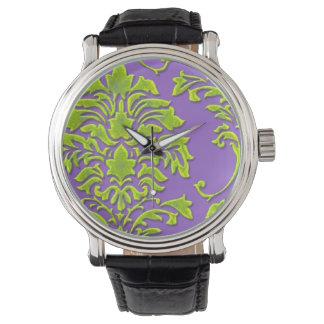 PixDezines green damask/diy background Watches