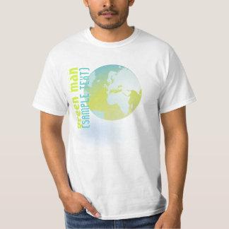 PixDezines Green Man, globe T-Shirt