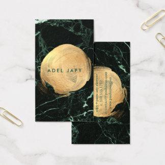 PixDezines GREEN MARBLE+FAUX GOLD SPOTS Business Card