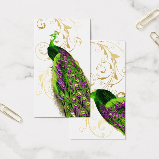 PixDezines green peacock+filigree/diy fonts Business Card