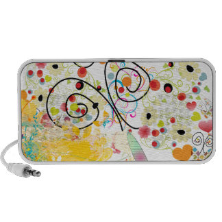 PixDezines Grunge Butterflies+Floral Portable Speakers