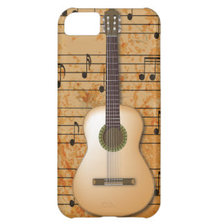 PixDezines Guitar+Vintage Sheet Music Case For iPhone 5C
