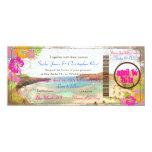 PixDezines hanauma bay/vintage boarding pass 4x9.25 Paper Invitation Card