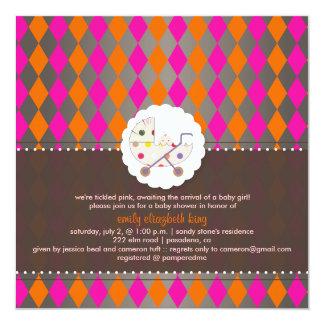 PixDezines harlequin/pink+orange/baby shower/DIY Custom Invitations