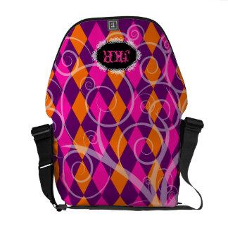 PixDezines Harlequin+spiral/DIY background Courier Bag