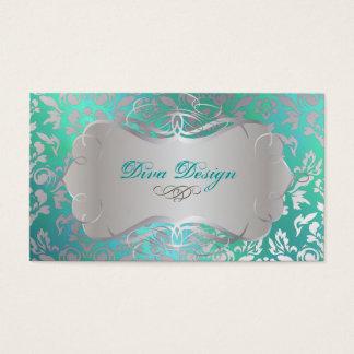 PixDezines Haute Coutour Damask, Faux Silver Business Card