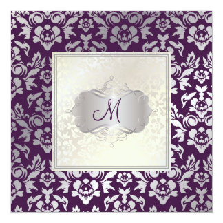 PixDezines Haute Couture Damask 5.25x5.25 Square Paper Invitation Card