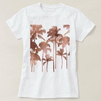 PixDezines Hawaii, Aloha Palm Trees/Faux Rose Gold T-Shirt
