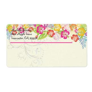 PixDezines Hawaiian Leis of Hibiscus/DIY color Shipping Label