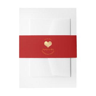 PixDezines Heart Faux Gold Foil DIY color Invitation Belly Band