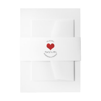 PixDezines Heart Faux Red Foil Invitation Belly Band