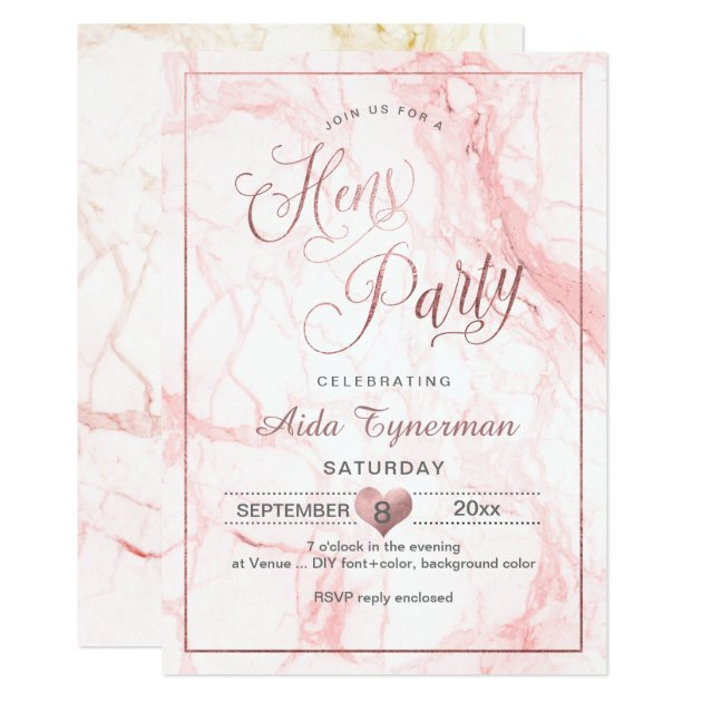 Pixdezines Hens Party Faux Rose Gold Script Marble Invitation Zazzle Com