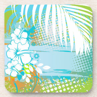 PixDezines hibiscus/DIY background color Drink Coaster