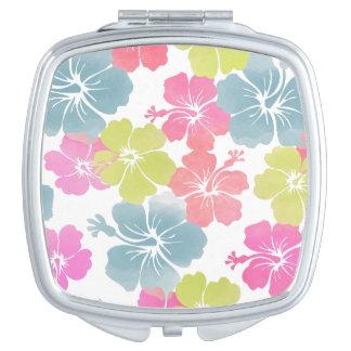 Pixdezines hibiscus/diy background compact mirror